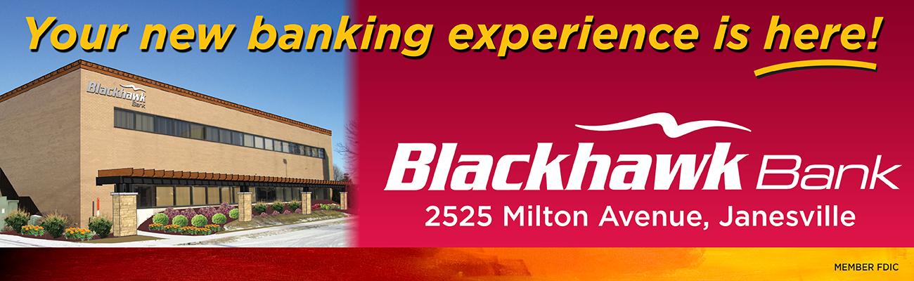 Blackhawk bank on Milton Avenue in Janesville-brochure stating new opening-contact Blackhawk for online services today