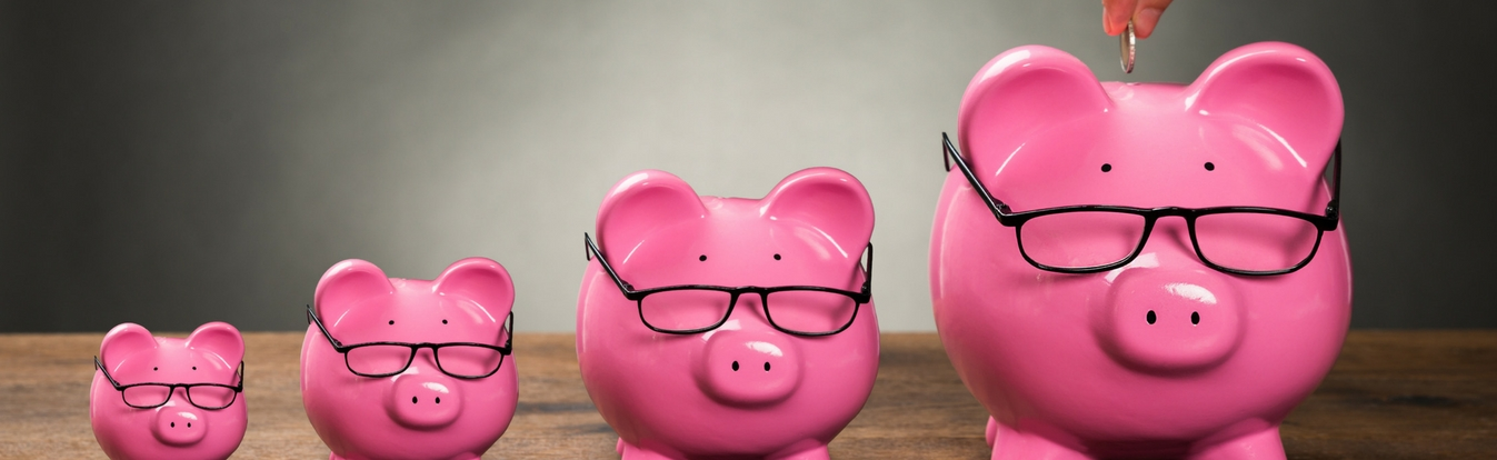 image of four pink pig piggy banks all different sizes with glasses on to describe wealth and savings