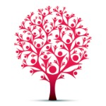 Red tree infographic image that looks like people for branches.