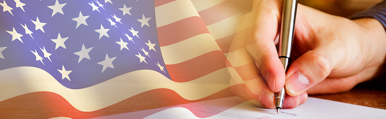 Signing Document American Flag Background