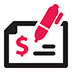 Icon of a pen writing on a check symbolizing opening a bank account.