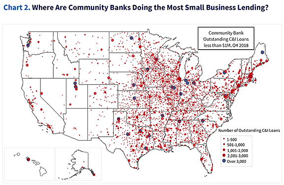 Map of the United States showing where community banks are doing most small business lending