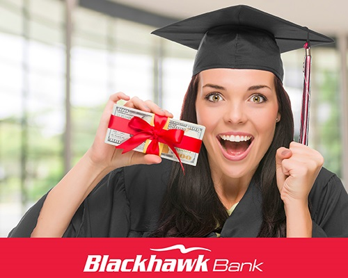 Image of a female graduate in a black cap and gown holding a stack of money wrapped in a red ribbon.